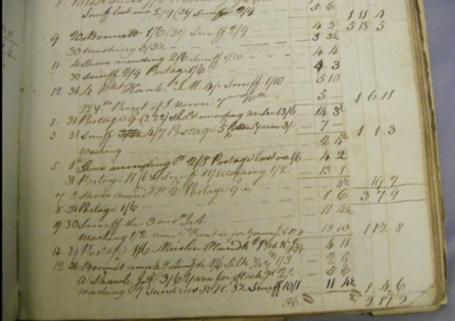 A page from Patients' Disbusements, 1804/5