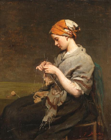 jules_adolphe_breton_-_jeune_fille_tricotant