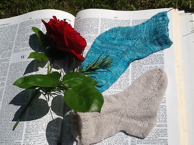 From Cornelia Mee and Miss Austin's 'First Series of The Knitter's Companion'. 'Child's Sock'  Knitted in silk (blue) and wool (cream)