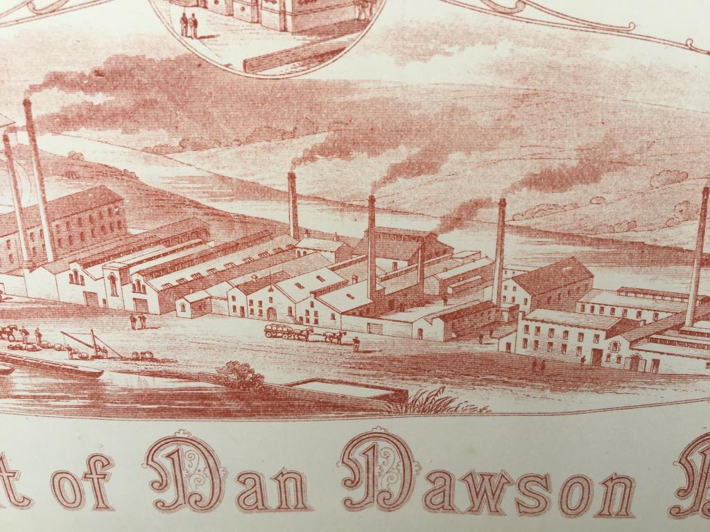 Engraving of Dan Dawson's factory, Huddersfield, 1890s.